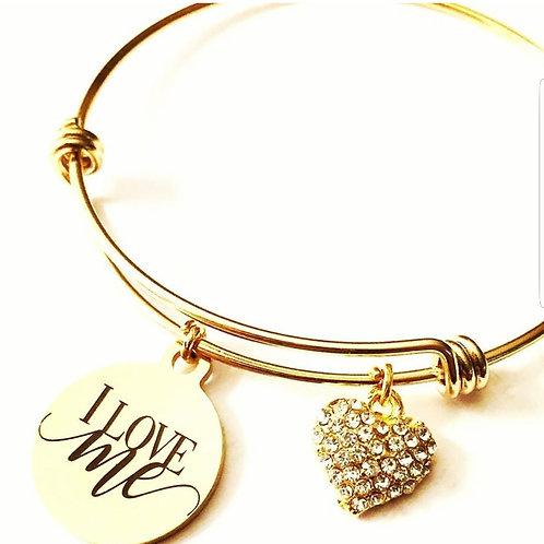 I Love Me Gold Heart Charm Bracelet