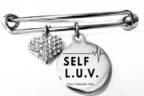 Self  L. U. V. Silver Heart Charm Bracelet