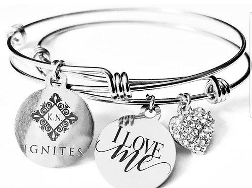 I Love Me Silver Heart Charm Bracelet