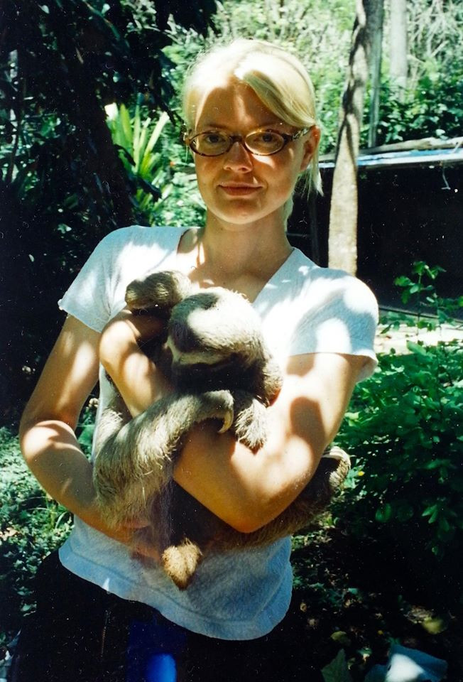 Bee and Antonio the Sloth in Costa Rica in 1999