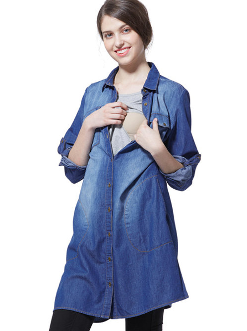 Button-Down Denim Nursing Dress