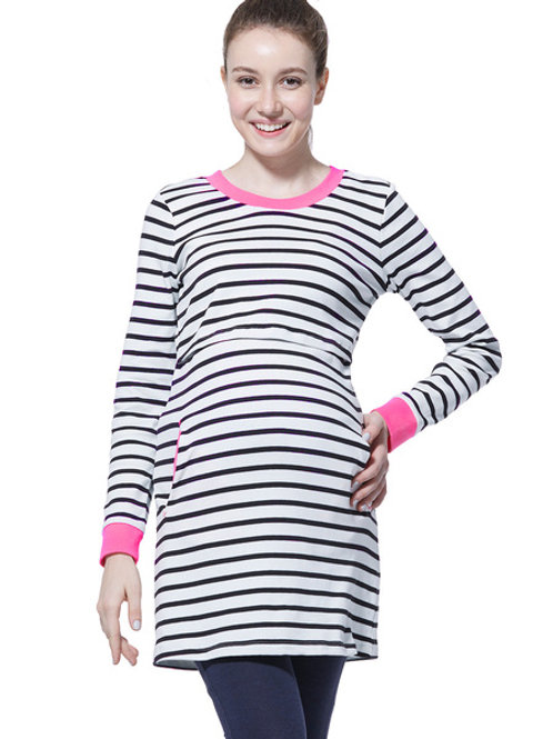 Trimmed Stripe Maternity/Nursing Tunic- Black/ White