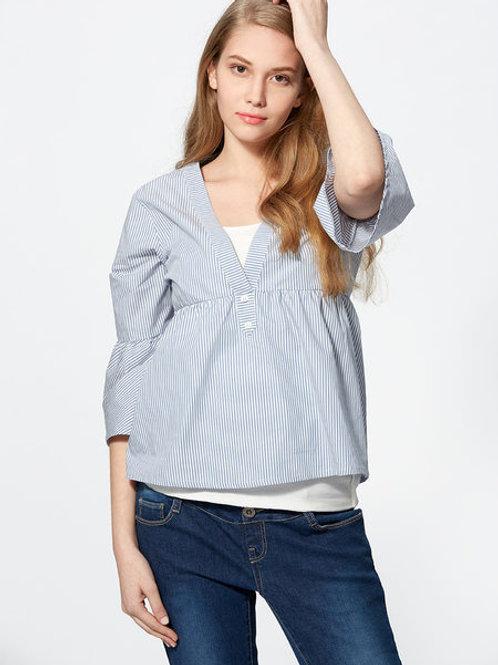 Puff Sleeve Maternity/Nursing Top- Blue Striped