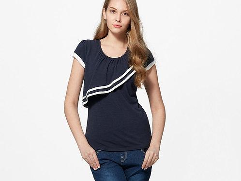 Trimmed Ruffle Maternity/Nursing Top