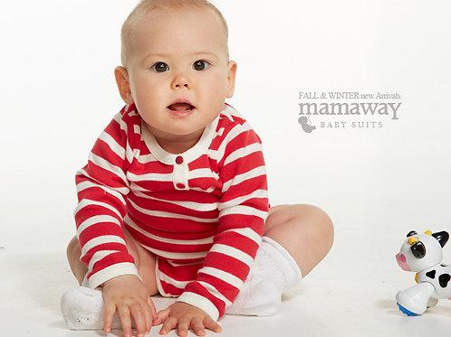 Stripey Henley Collar Baby Suit