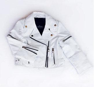 Ice White Zip Leather Biker Jacket | Available Now