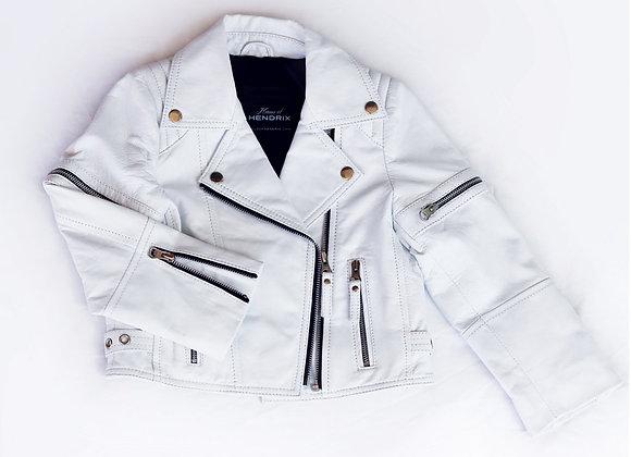 Ice White Biker Leather Jacket | Pre-Order