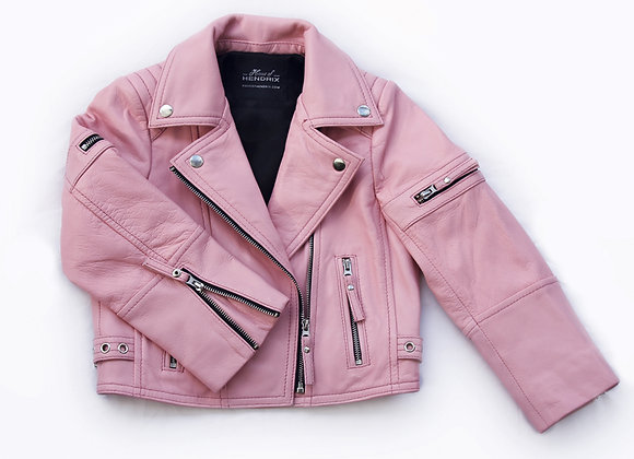 Sugar Pink Zip Leather Biker Jacket | Available Now