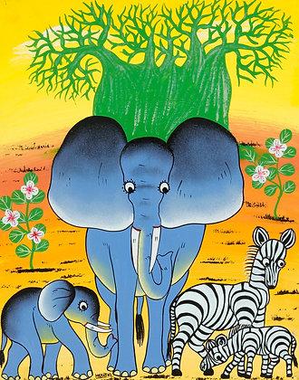Elephant/Zebra/Baobab