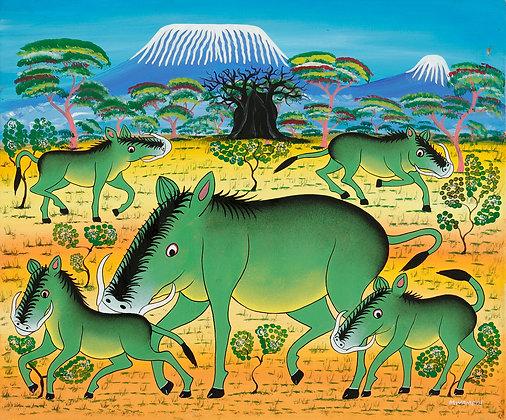 Warthogs/Baobab/Kilimanjaro