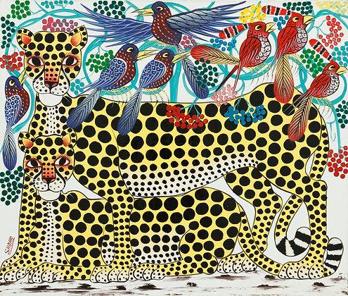 Cheetah family/Bird/Flower
