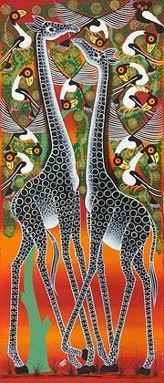 Giraffe couple/Bird