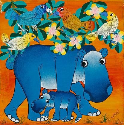 Hippo family/Bird/Flower