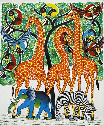 Giraffe amily / Elephant / Zebra / Bird