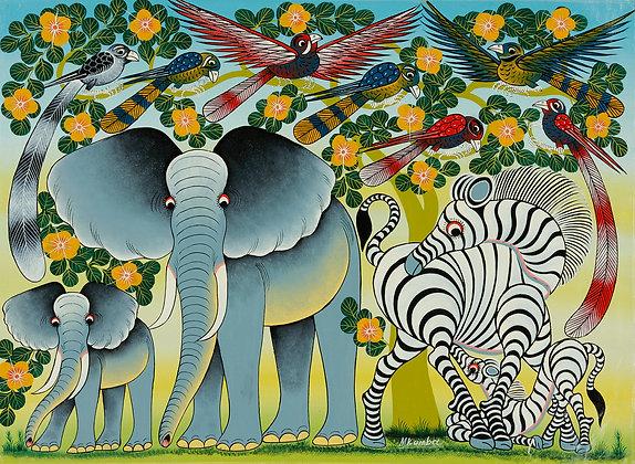 Elephant family/Zebra family/Bird