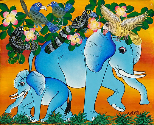Elephant family/Bird/Flower