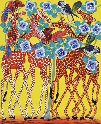 Giraffe / Bird / Flower
