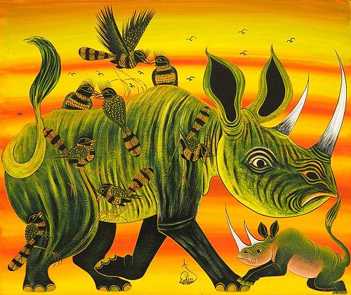 Rhinoceros family/Bird