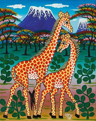 Giraffe family/Kilimanjaro