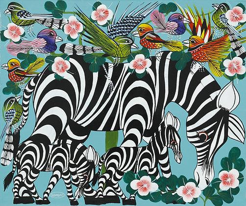 Zebra family / Bird / Flower