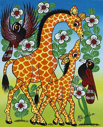 Giraffe family/Bird