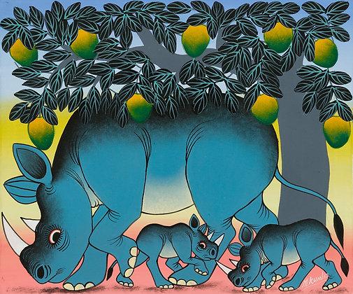 Rhinoceros family/Mango tree
