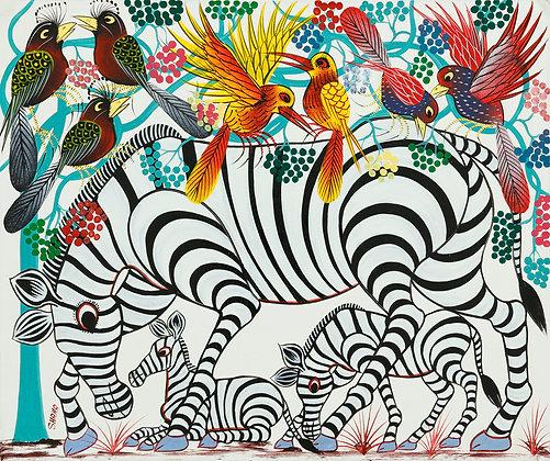 Zebra family/Bird/Flower