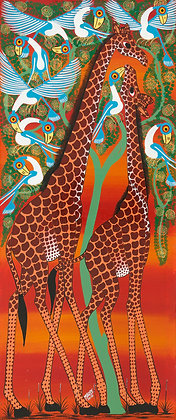 Giraffe couple/Bird