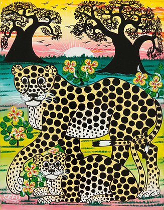 Cheetah family/Baobab/Sunset