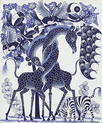 Giraffe / Zebra / Bird