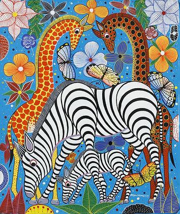 Giraffe / Zebra / Butterfly / Flower