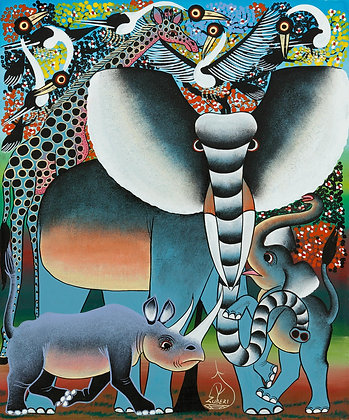 Elephant family/Rhinoceros/Giraffe/Bird