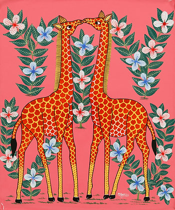 Giraffe couple/Flower