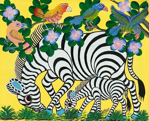 Zebra family/Bird/Flower