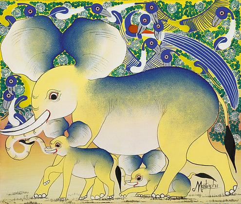 Elephant family / Bird