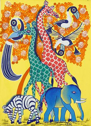 Giraffe / Zebra / Elephant / Bird
