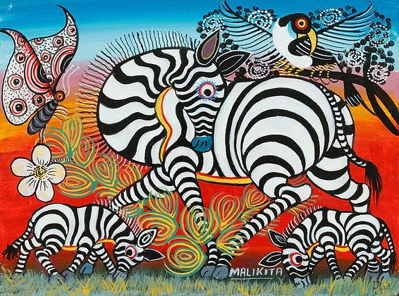 Zebra family/Bird/Butterfly