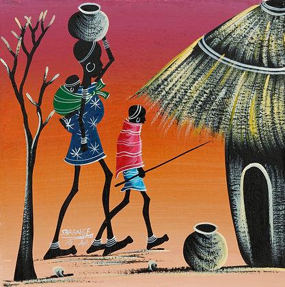 Masai family/Sunset/House