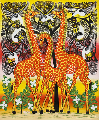 Giraffe family / Bird