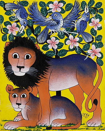 Lion couple/Bird