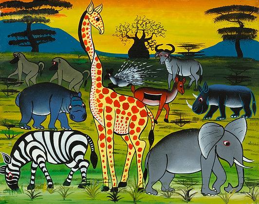 Animals/Baobab/Sunset