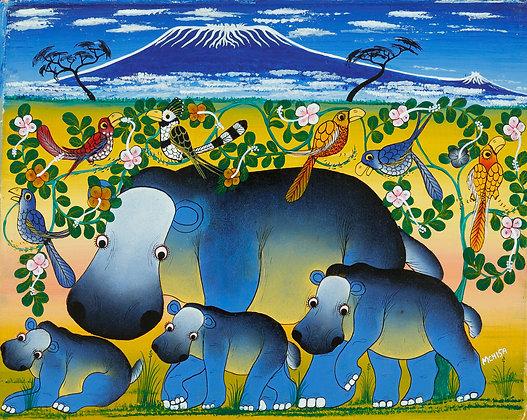 Hippo family/Bird/Kilimanjaro