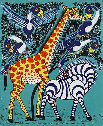 Giraffe/Zebra/Bird