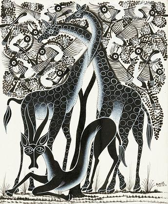 Giraffe/African antelope/Bird