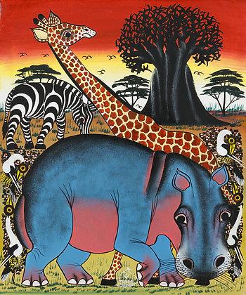 Hippo / Giraffe / Zebra / Baobab