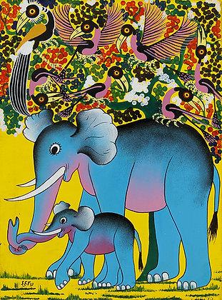 Elephant family/Bird