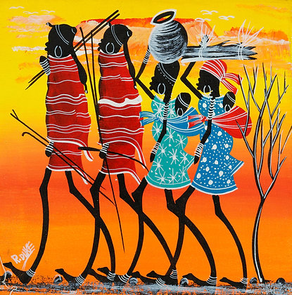 Masai family/Sunset/Kilimanjaro