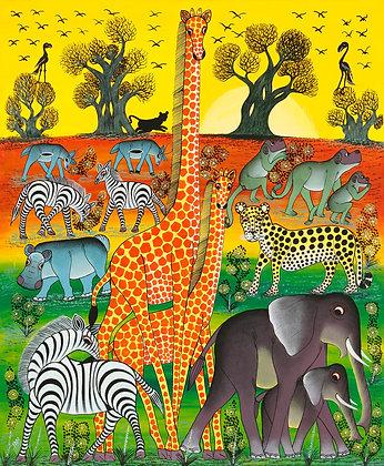 Animals/Tree/Sunset