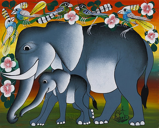 Elephant family/Bird
