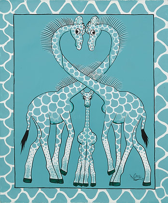Giraffe family / Bird